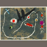 "Joan Miró (Spanish, 1893-1983) Le Lézard aux Plumes D'or Lithograph printed in colours, 1971, on parchment, with narrow margins, possibly trimmed, signed and numbered VI/X in pencil, inscribed verso VII and titled ""Le Lezard"", 335 x 480mm (13 1/4 x 18 7/8in)(I), 352 x 497mm (13 7/8 x 19 1/2in)(SH)"