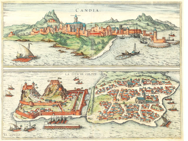 CORFU and CRETE [BRAUN (GEORG) and FRANZ HOGENBERG] Candia...la cita de Corphu, [Cologne, 1572, or later]; and 3 others (4)