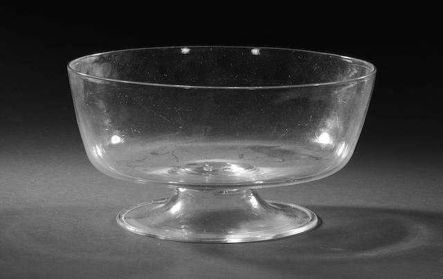 A large glass punchbowl, first half 18th century