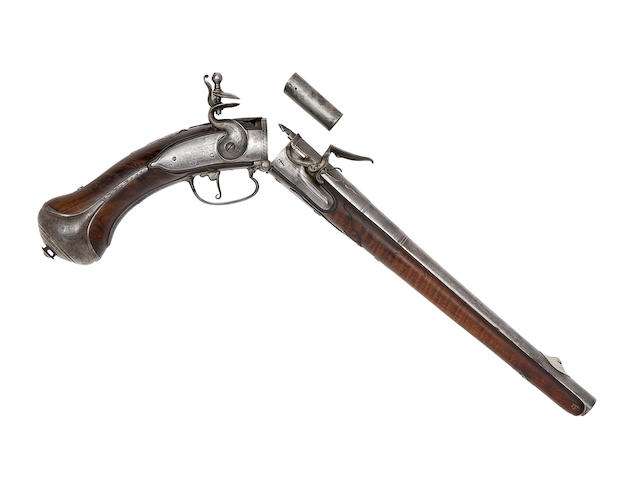 A Fine And Extremely Rare 22-Bore Break-Action Breech-Loading Magazine-Primed Flintlock Holster Pistol