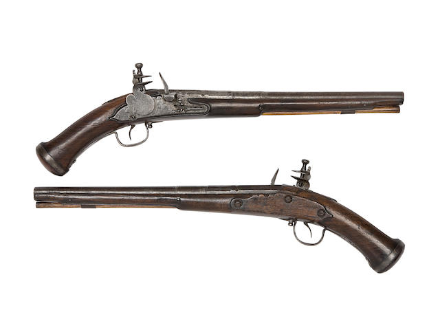 A Very Rare Pair Of 28-Bore English Lock (Type 2) Holster Pistols From The Luttrell Armoury, Dunster Castle