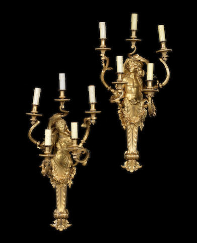A pair of French Ormolu Five-Light-Wall by Henry DassonParis, dated 1886.