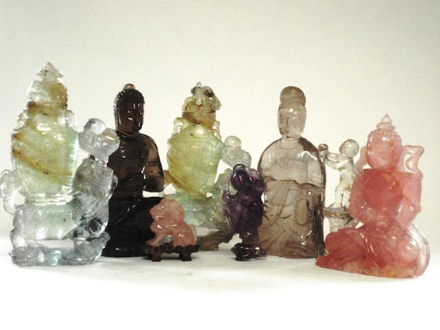 A pair of quartz vases with covers, and five rock crystal and quartz figures 19th century and later