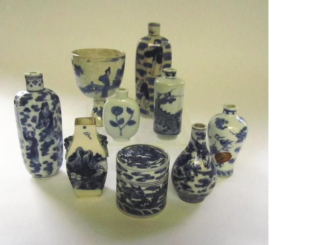A collection of nine blue and white miniatures Some bearing apocryphal marks but Qing period