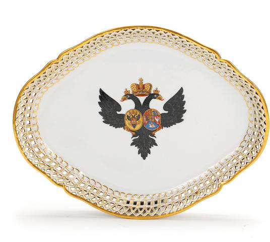 A Berlin oval dessert dish from the service made for Grand Duke Paul, circa 1778