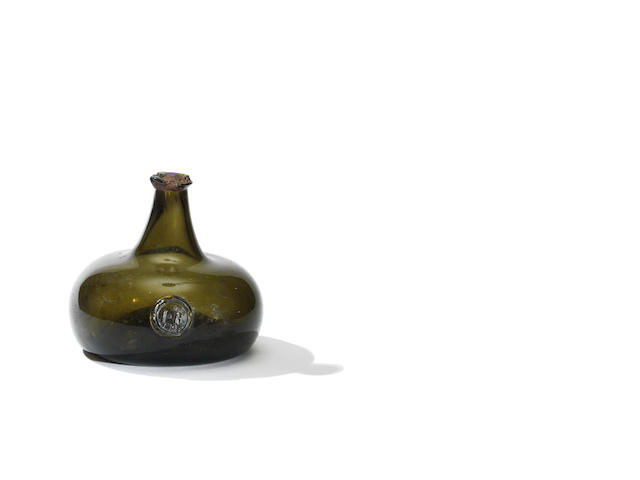 An unrecorded sealed wine bottle, dated 1705