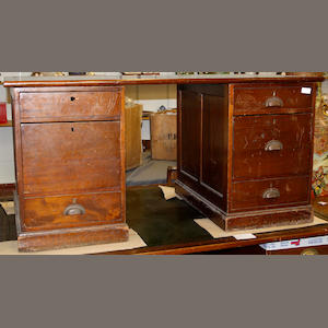 An early 20th century mahogany pedestal desk,
