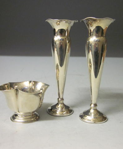 A pair of posy vases, Birmingham indistinctly marked,  (3)
