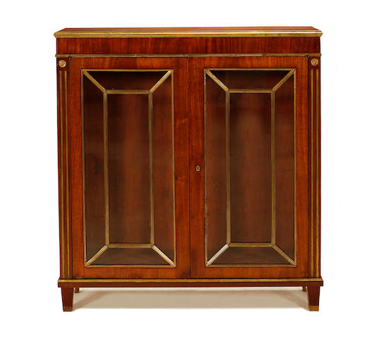 A Russian late 19th century brass mounted mahogany bookcase in the late 18th/early 19th century style