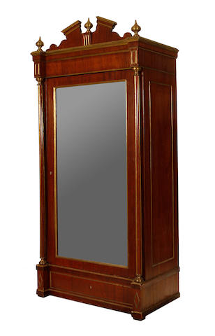 A Russian late 19th century brass mounted mahogany wardrobe in the late 18th/early 19th century style
