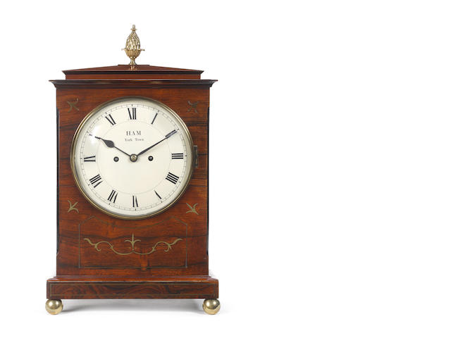 An early 19th century rosewood bracket clock Ham, York Town