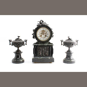 A 19th century bronze-mounted black and green marble clock garniture Inscribed Hy Marc Paris