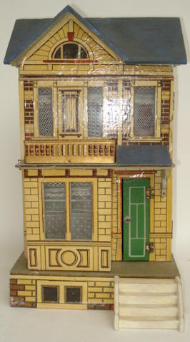 Small Moritz Gottschalk blue roof dolls house, circa 1910