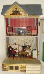 Small Moritz Gottschalk blue roof dolls house