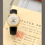 Patek Philippe. A very fine and very rare 18ct gold manual wind perpetual calendar wristwatch with moonphases and together with fitted box