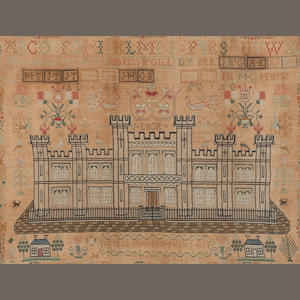 A George IV stitched sampler,  By Agnes Thomson 1826,