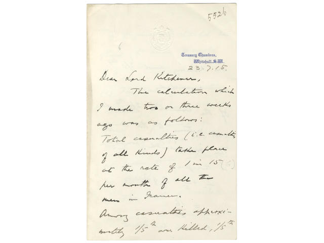 WORLD WAR ONE – KITCHENER and McKENNA. Autograph letter signed by the Chancellor of the Exchequer, Reginald McKenna, to Lord Kitchener, 1915