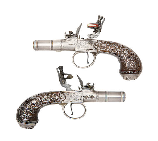 An Exceptional Pair Of 120-Bore Flintlock Box-Lock Pocket Pistols With Silver Barrels, Actions And Mounts