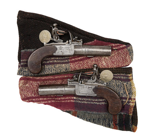 A Pair Of 34-Bore Flintlock Box-Lock Pocket Pistols