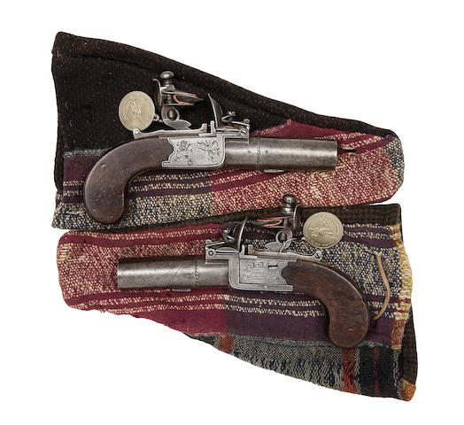 A Pair Of 34-Bore Flintlock Box-Lock Pocket Pistols