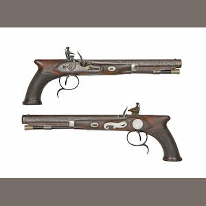 A Rare Cased Pair Of 28-Bore Saw-Handled Flintlock Duelling Pistols Presented To Don Francisco De Sayus From H.R.H. The Prince Regent Of Great Britain
