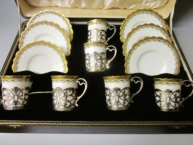 A six piece Aynsley coffee set,  Sheffield 1924/1933,