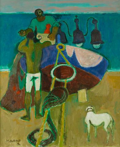 Alberto Morrocco, OBE RSA RSW RP RGI LLD D Univ (British, 1917-1998) Night Fishermen 61 x 51 cm. (24 x 20 in.)