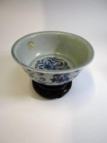 A blue and white bowl Late 17th century
