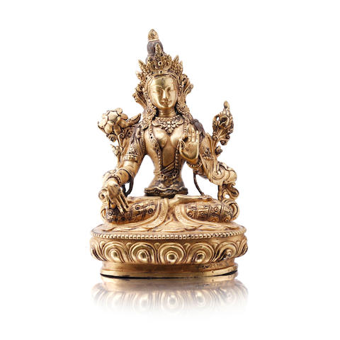 A gilt bronze White Tara 19th century