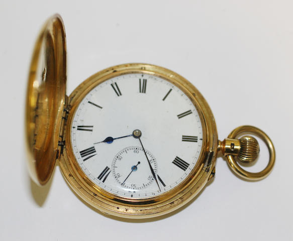 An 18ct gold hunter keyless wind pocket watch