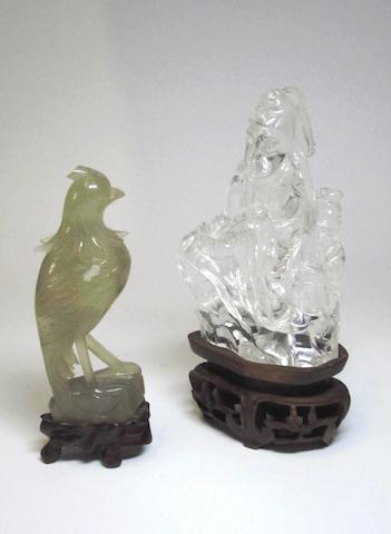 An agate bird and a rock crystal figure Late 19th century