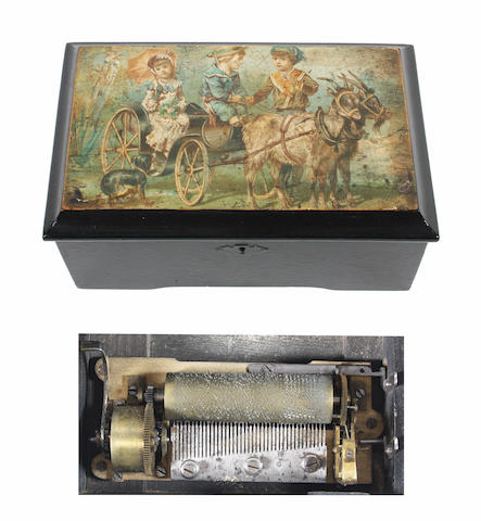 A musical box playing six airs, circa 1895,