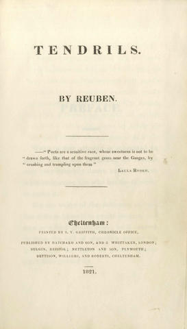 """HAWKER (ROBERT STEPHEN, of Morwenstow. Tendrils. By """"Reuben"""", FIRST EDITION OF THE AUTHOR'S FIRST BOOK, 1821"""