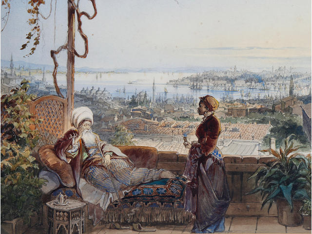 Vittorio Amadeo Preziosi (Maltese, 1816-1882) Istanbul, from a terrace in Pera