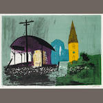John Piper C.H. (British, 1903-1992) Seaton  Lithograph printed in colours, 1978, on T.H. Saunders, signed and numbered 16/75 in pencil, printed by Curwen Studio, published by Orde Levinson, with his blindstamp, with full margins, 423 x 599mm (16 5/8 x 23 9/16in)(I)