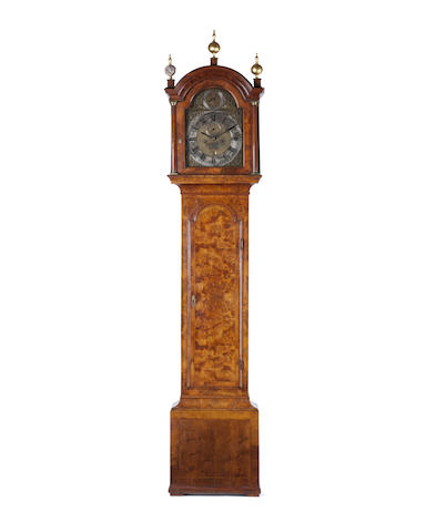 A George II burr walnut longcase  The dial inscribed Marmd. (Marmaduke) Storr, London