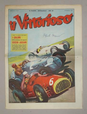 An Alberto Ascari signed issue of 'Il Vittorioso' magazine,