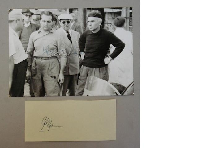 An Alberto Ascari signed photograph and a Giuseppe Farina autograph,