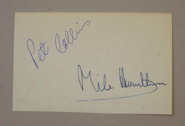 Autographs of Peter Collins and Mike Hawthorn,
