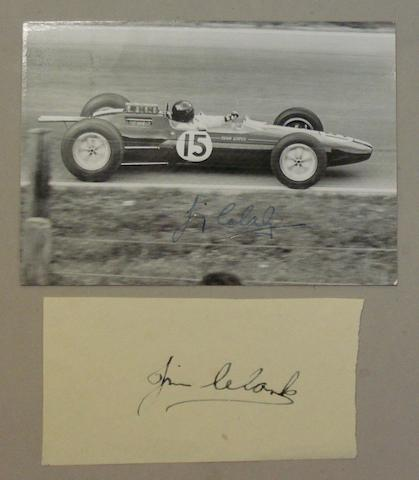 A Jim Clark signed photograph and an autograph,