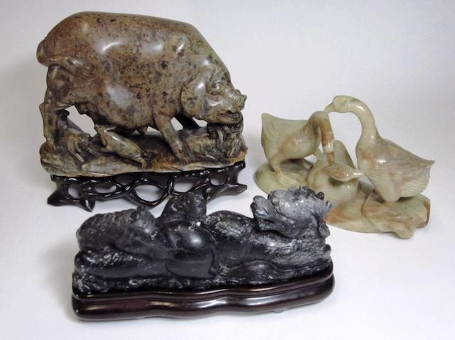 A small collection of soapstone carvings