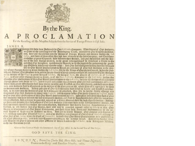 EAST INDIA COMPANY - BROADSIDE, 17th July 1686