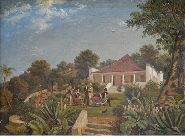 Attributed to C. J. Martin, 19th Century A gathering on a lawn, Rio de Janeiro