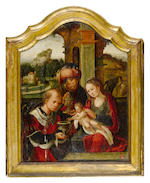 Workshop of Pieter Coecke van Aelst the Elder (Aelst 1502-1550 Brussels) The Adoration of the Magi central panel: 51 x 39.2cm (20 x 15 3/8in), each wing: 51.5 x 15.7cm (20 1/4 x 6 1/4in), overall: 61.4 x 98.7cm (24 1/8 x 38 7/8in).