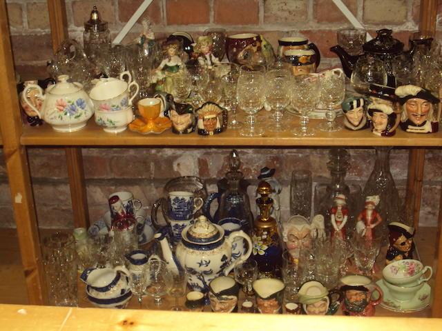 A mixed collection of ceramics and glasswares