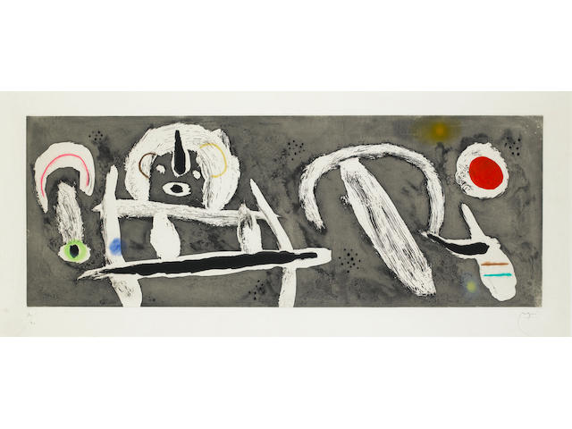 Joan Miro (Spanish, 1893-1983) Grand Vent Etching with aquatint printed in colours, 1960, on BFK Rives, signed and numbered 30/90 in pencil, published by Maeght, Paris, 380 x 872mm (15 x  24 1/4in)(I)