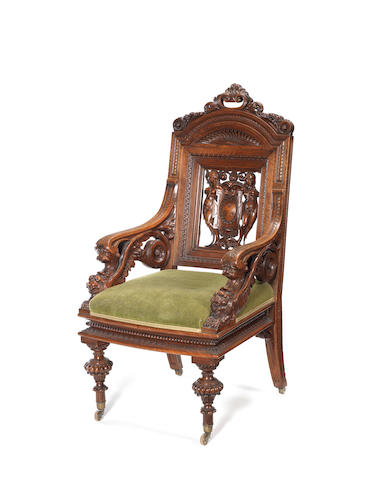 An Italian late 19th century carved walnut open armchair by Barbetti, Firenze, dated 1863