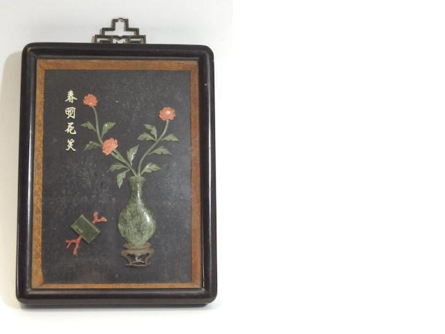 A hard stone and coral framed picture Early 20th century