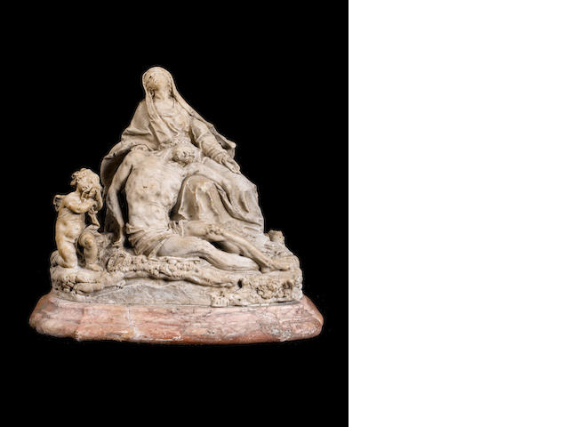 Circle of Pietro Baratta, Italian (1659-1729)  A late 17th century marble group of the Pieta