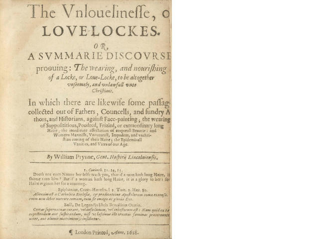 PRYNNE (WILLIAM) The Unlovelinesse, of Love-Lockes. Or, a Summarie Discourse, Prooving: the Wearing, and Nourishing of a Locke, or Love-Locke, 1628